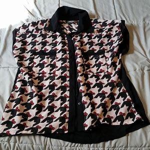 S Womens Hello Kitty Houndstooth Shirt